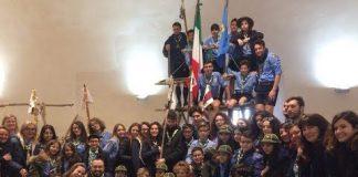Un vero campo scout ricostruito all'interno della Torre Carlo V. Dopo l'alza bandiera e l'Inno Nazionale sono state proiettate le foto dei momenti più belli dello scoutismo.