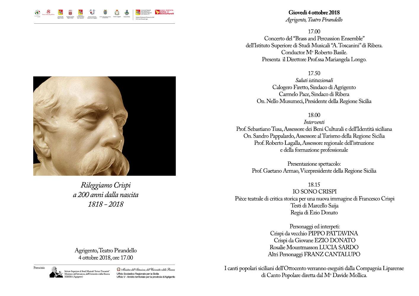 """""""Io sono Crispi"""", 4 ottobre, Teatro Pirandello, DOCUFILM,"""