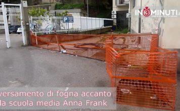 Sversamento di fogna accanto alla scuola media Anna Frank
