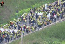 Manifestazione contro l'isolamento, marcia rotatoria Giunone a rotatoria Strada degli Scrittori